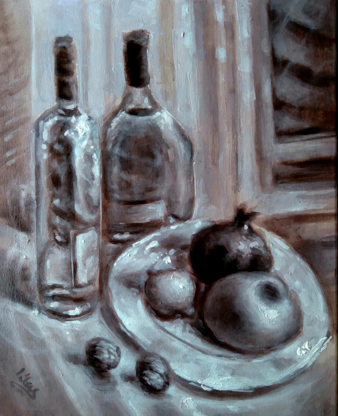 Alex Klas. Still life by the window. Monochrome painting