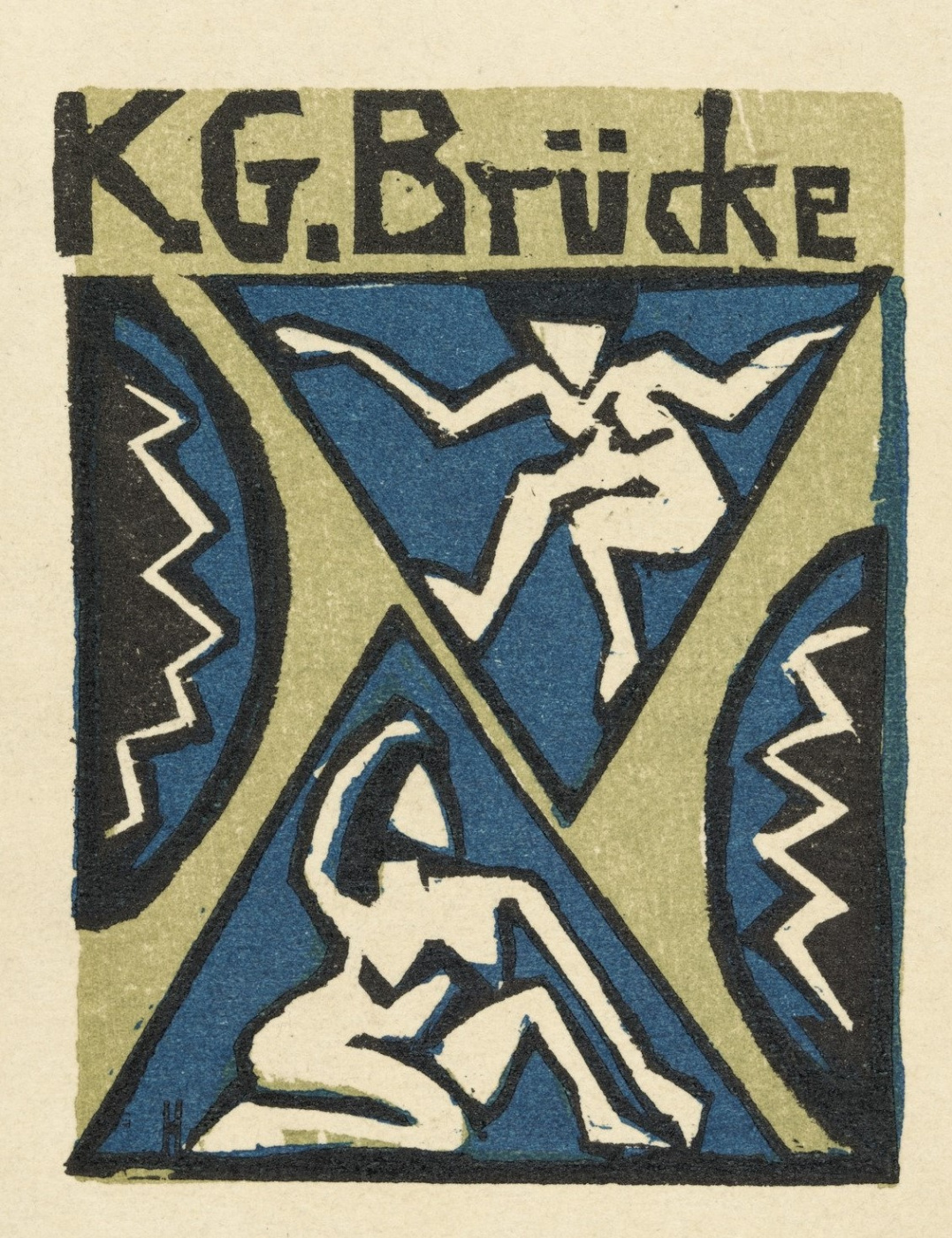 """Erich Heckel. The cover of the invitation to the group exhibition of artists """"Bridge"""" in the gallery of Fritz Gurlitt"""