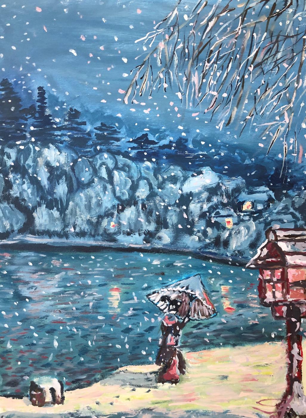 Sergey Vladimirovich Sebini. Снежный вечер у озера