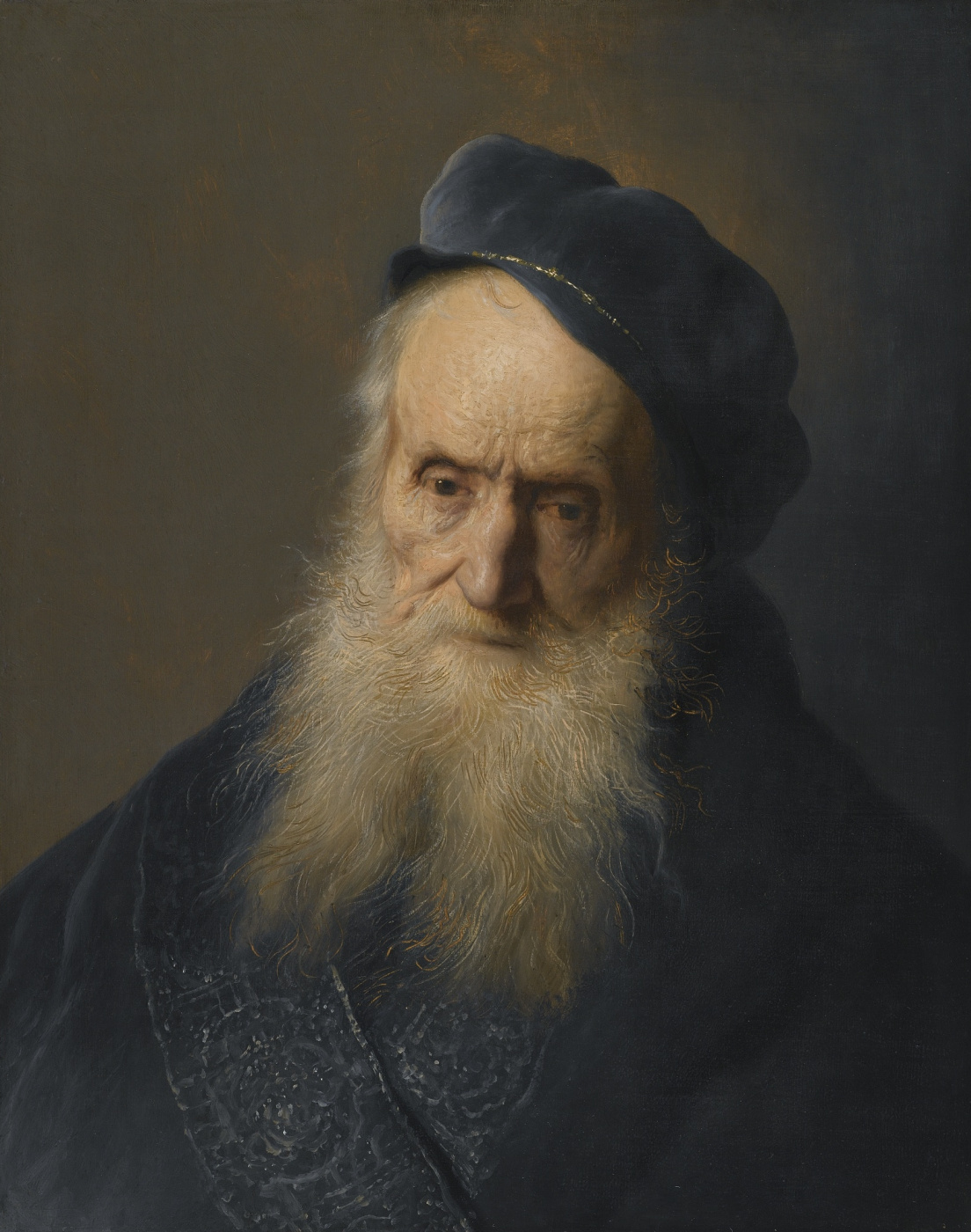 Jan Lievens. Portrait of a bearded old man in the blue beret