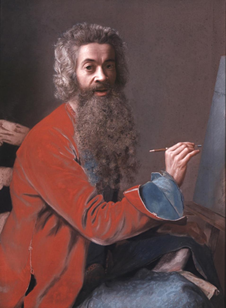 Jean-Etienne Liotard. Self-portrait with easel