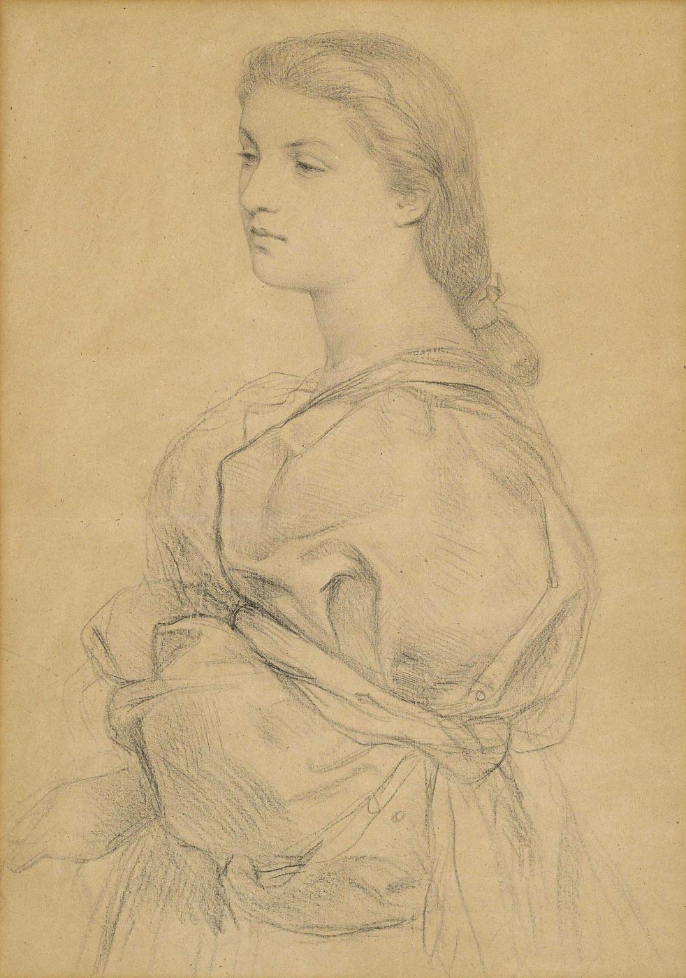 Frederick William Burton. Portrait of a young woman (Cassandra Fedele)