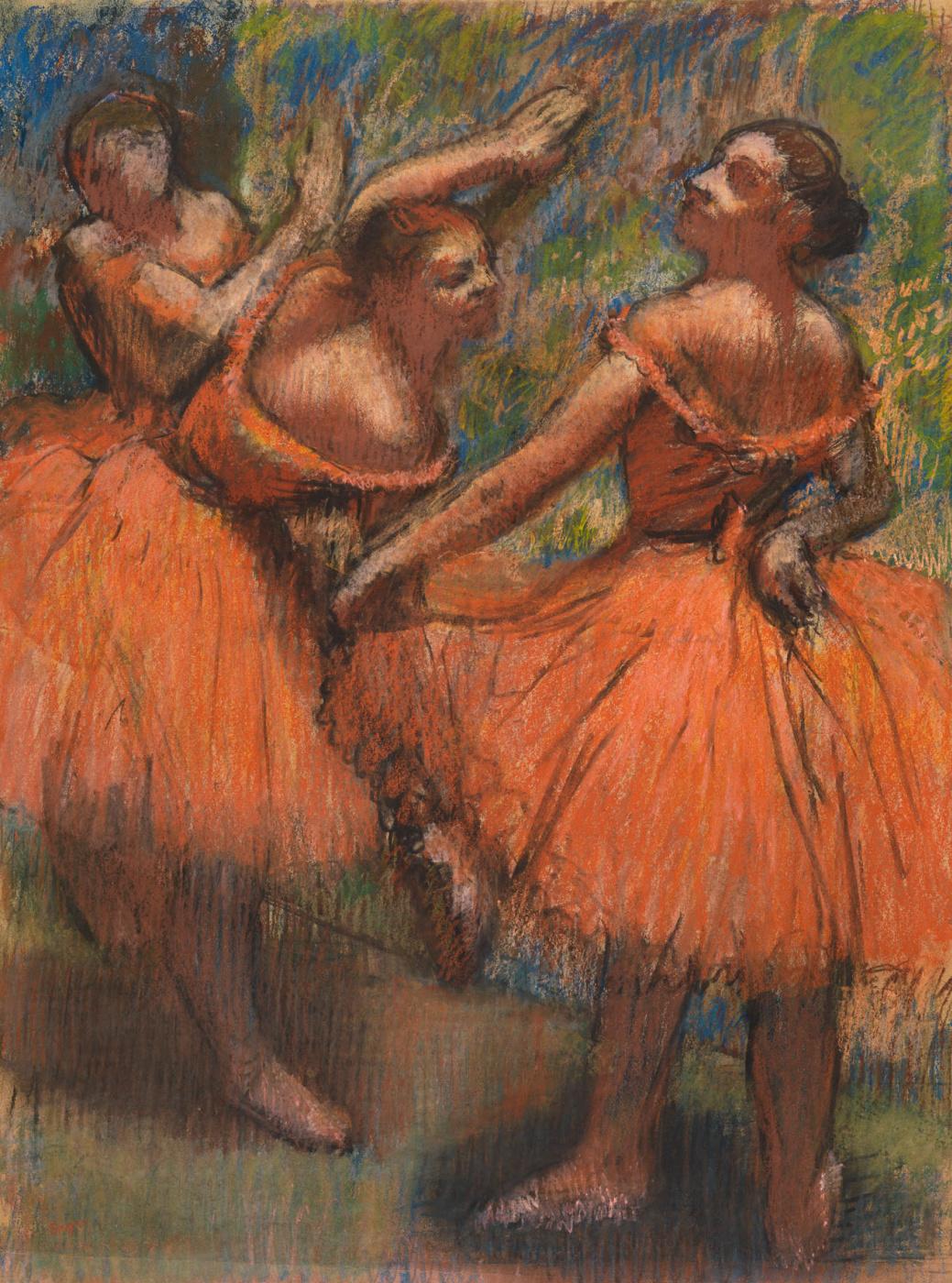 Edgar Degas. Ballerina in orange packs