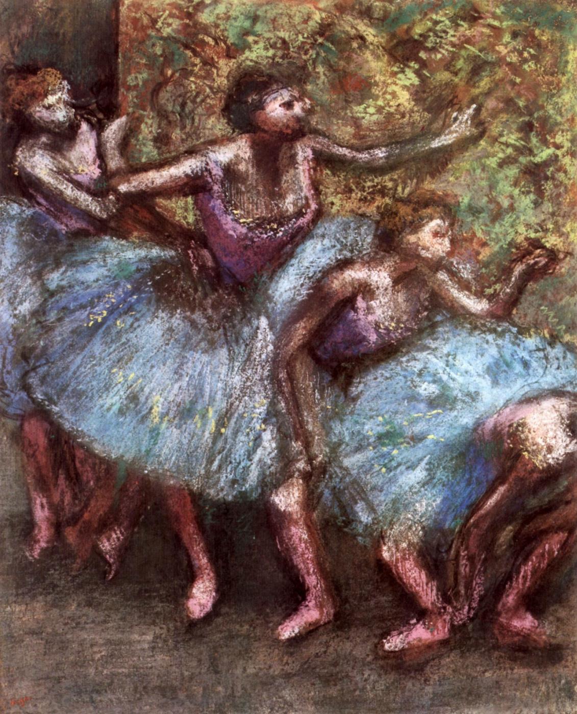 Edgar Degas. Four ballerinas behind the scenes