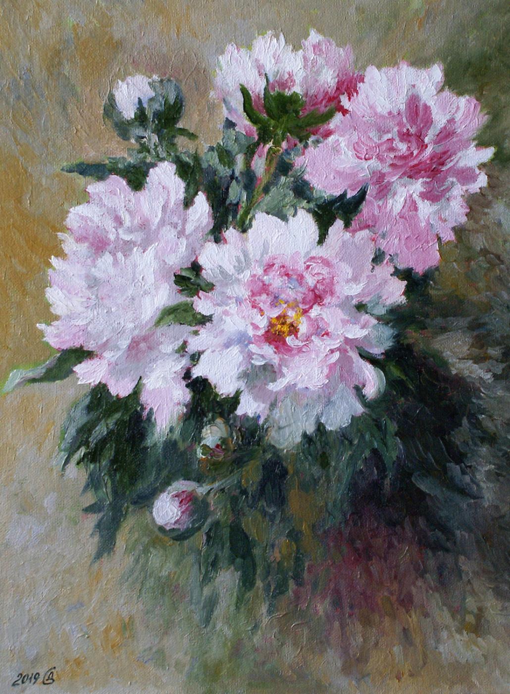 Сергей Владимирович Дорофеев. White peonies bloom