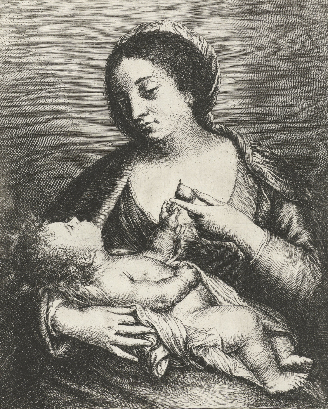 Jan Lievens. Mary and child with a pear