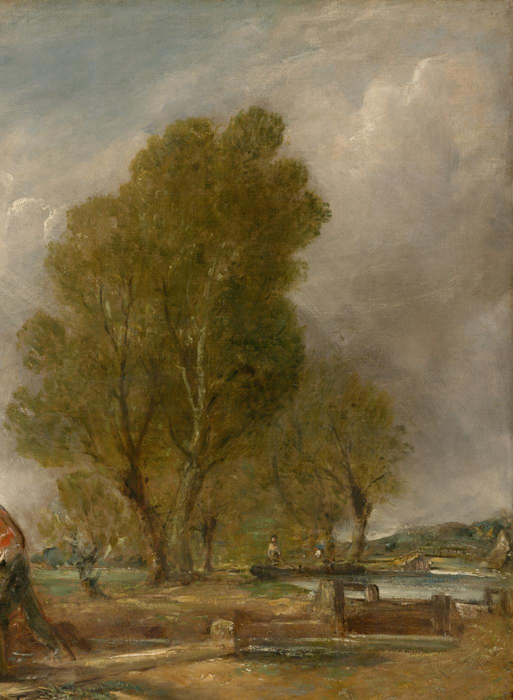 John Constable. Boat passing dam. Sketch. Fragment: landscape