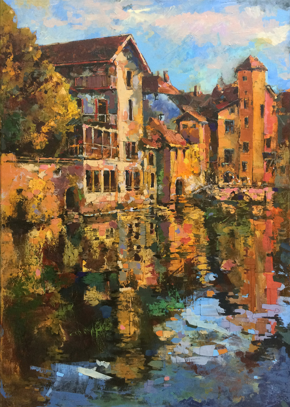 Mike Bezloska. Cityscape with canal