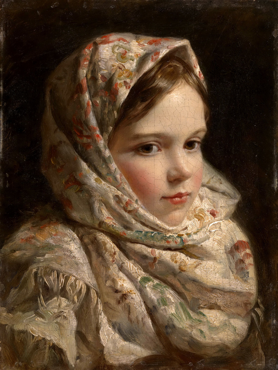 Unknown artist. Portrait of a girl in Pavlovo Posad shawl