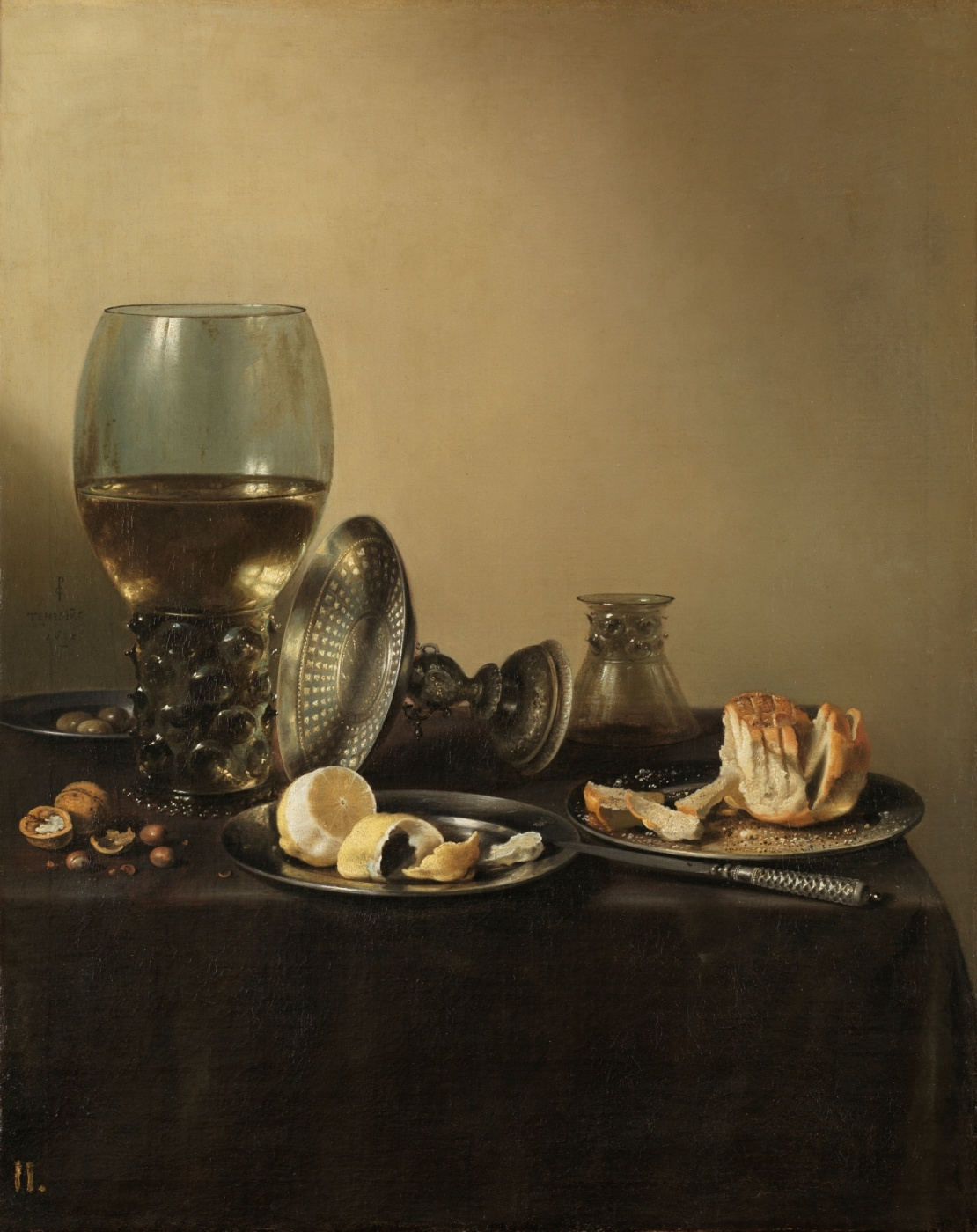 Pieter Claesz. Still Life with Römer, Silver Vase and Bread