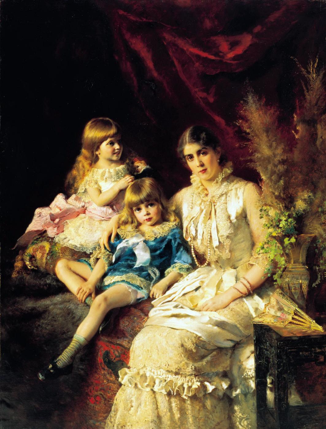 Konstantin Makovsky. Family portrait. J. P. Makowski is depicted with children, Sergei and Elena
