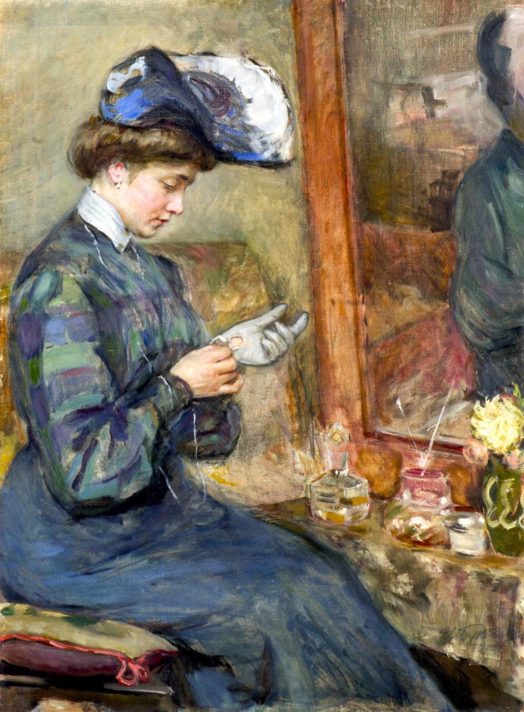 Евгений Иосифович Буковецкий. Woman with a glove at the mirror