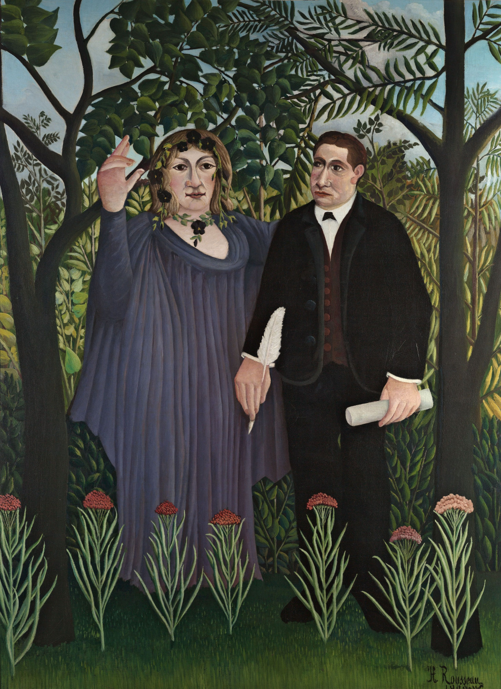 Henri Rousseau. The Poet and His Muse (The Muse Inspiring the Poet). Portraits of poet Guillaume Apollinaire and painter Marie Laurencin