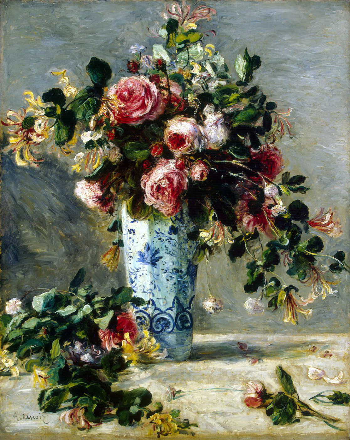 Pierre Auguste Renoir. Roses and Jasmine in a Delft vase
