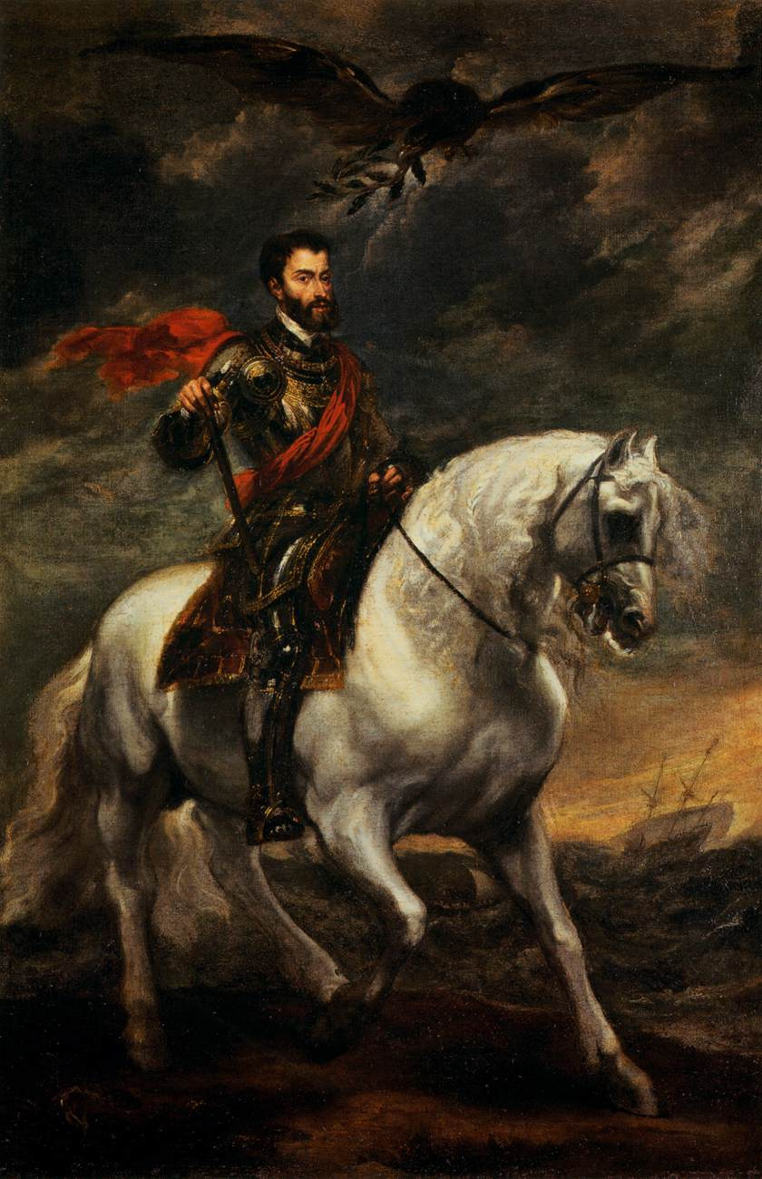 Anthony van Dyck. Portrait of Charles V on horseback