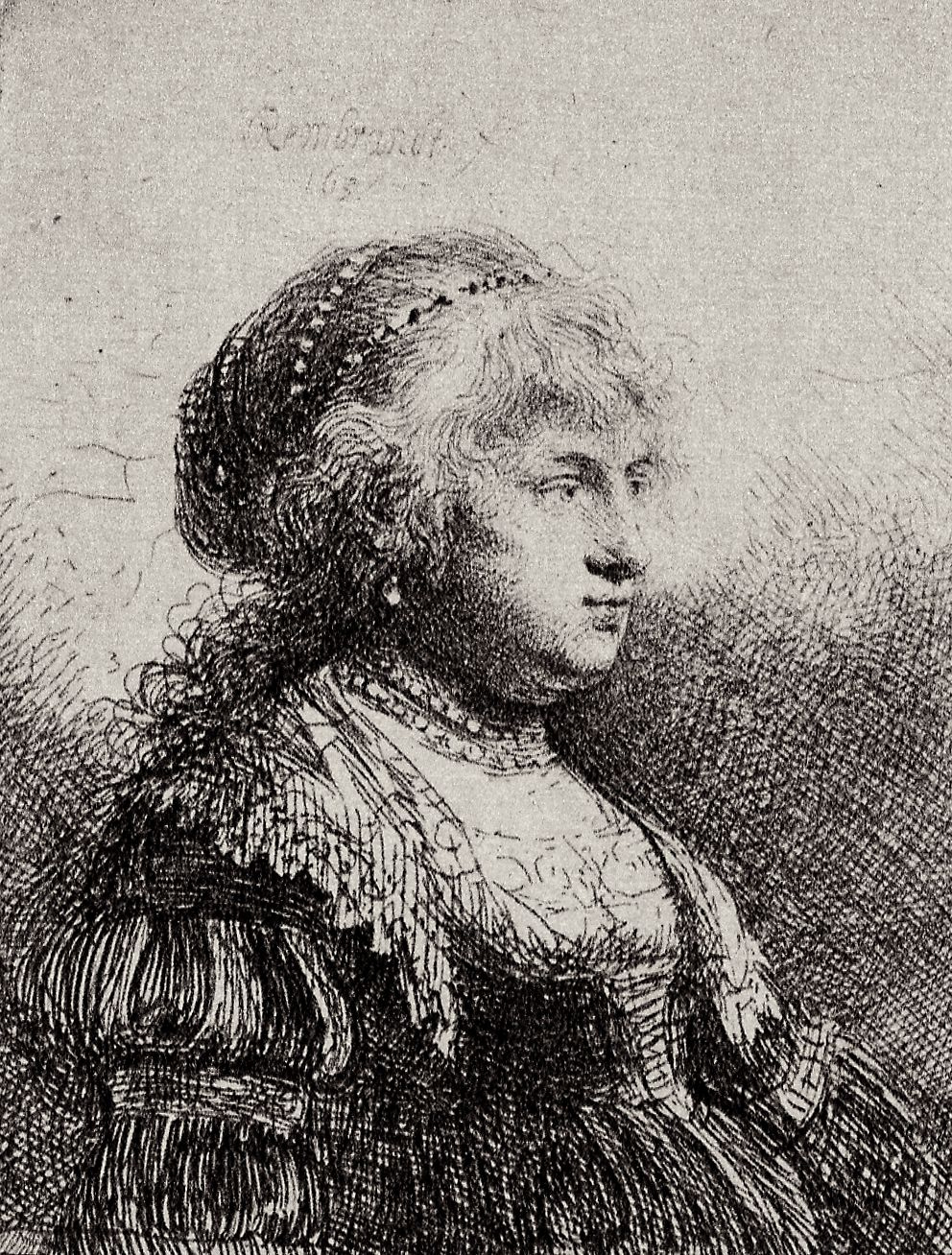 Rembrandt Harmenszoon van Rijn. Portrait of Saskia in fancy dress