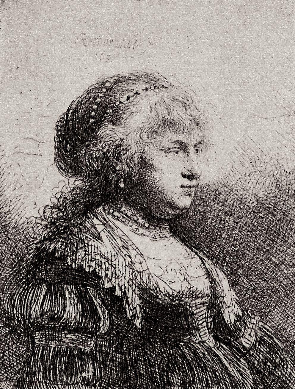 Rembrandt Harmenszoon van Rijn. Portrait of Saskia in fancy dress