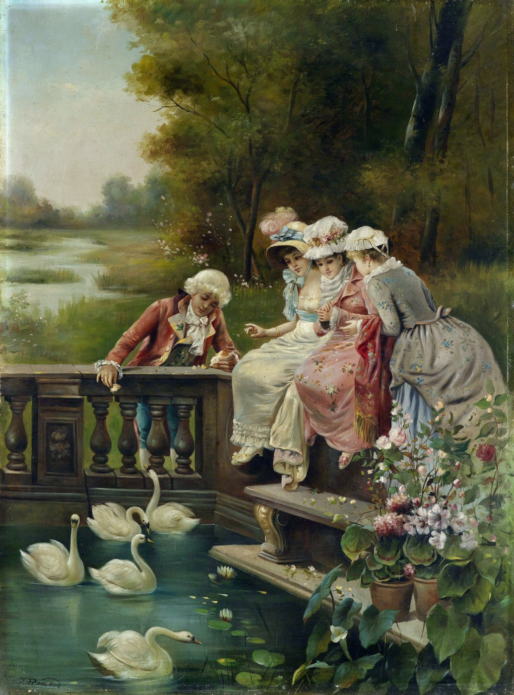 Hans Zack. Feeding the swans in the Park