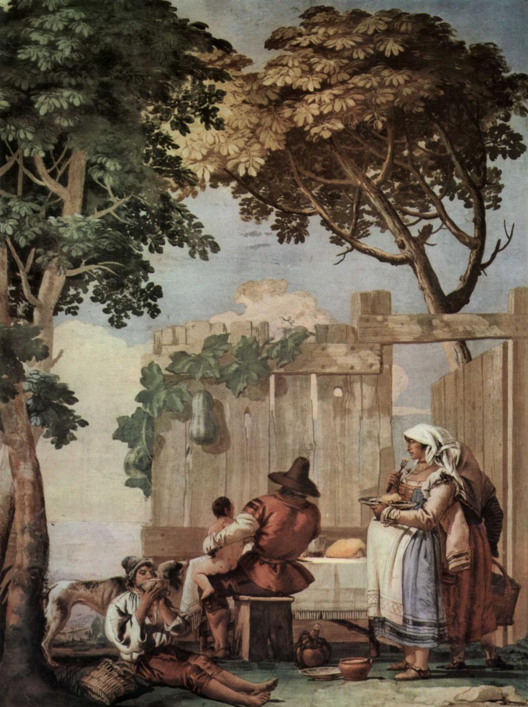 Giovanni Domenico Tiepolo. The frescoes of Villa Valmarana in Vicenza. Peasant family at table