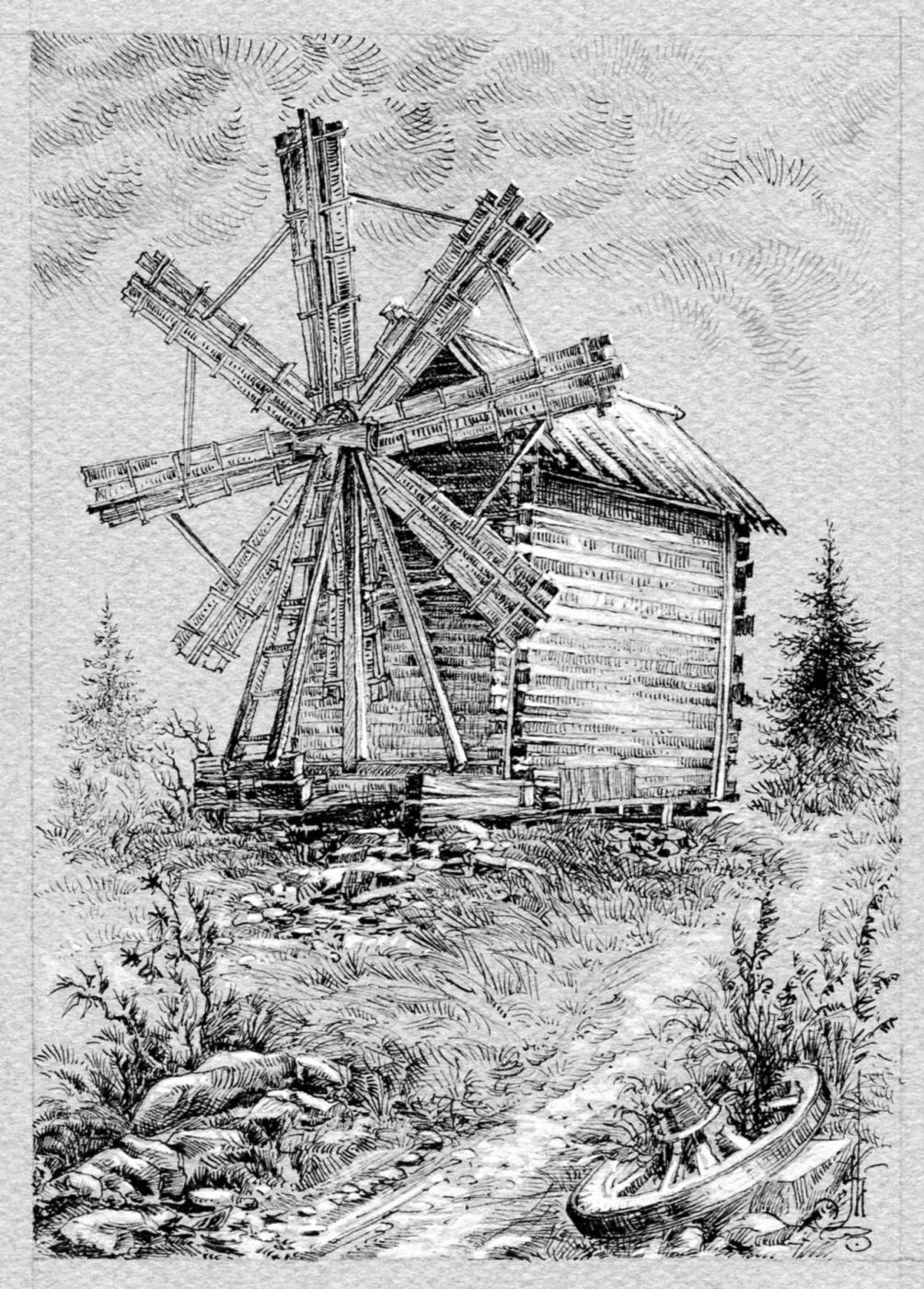 Vadim Viktorovich Maslennikov. Russian North. Windmill in Kizhi.