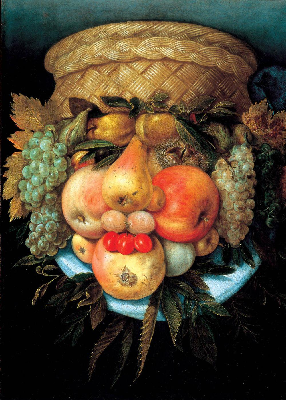 Giuseppe Arcimboldo. Portrait (still life with basket and fruit)