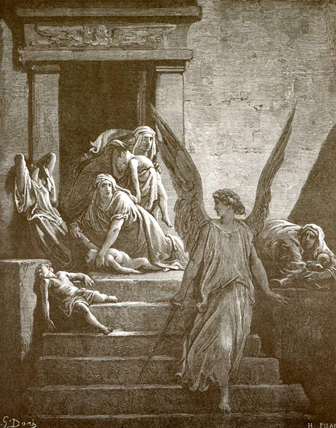 Paul Gustave Dore. Illustration to the Bible: the defeat of the firstborn