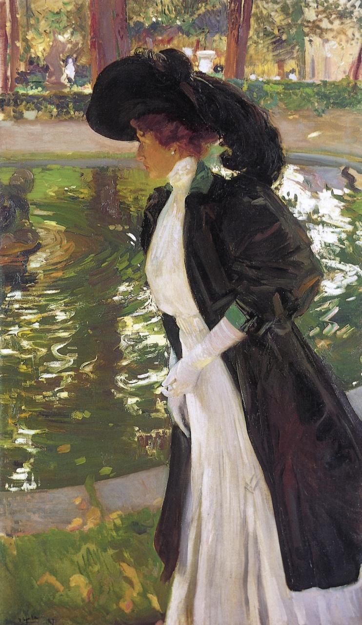 Joaquin Sorolla (Soroya). Clotilde strolling in the gardens of La Grange