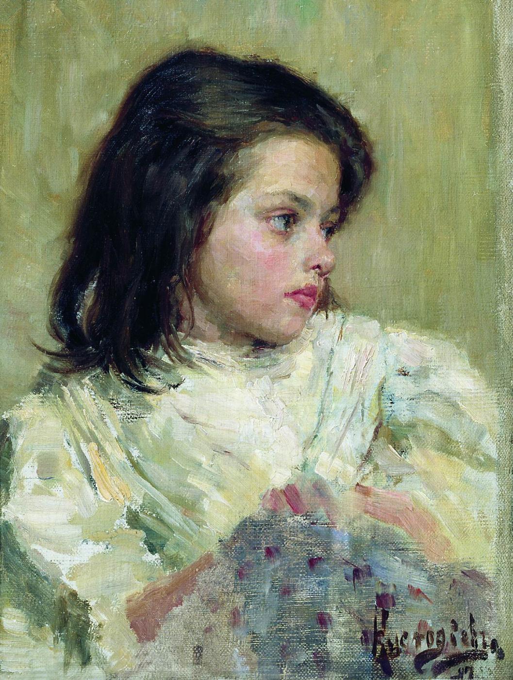 Boris Kustodiev. The girl's head