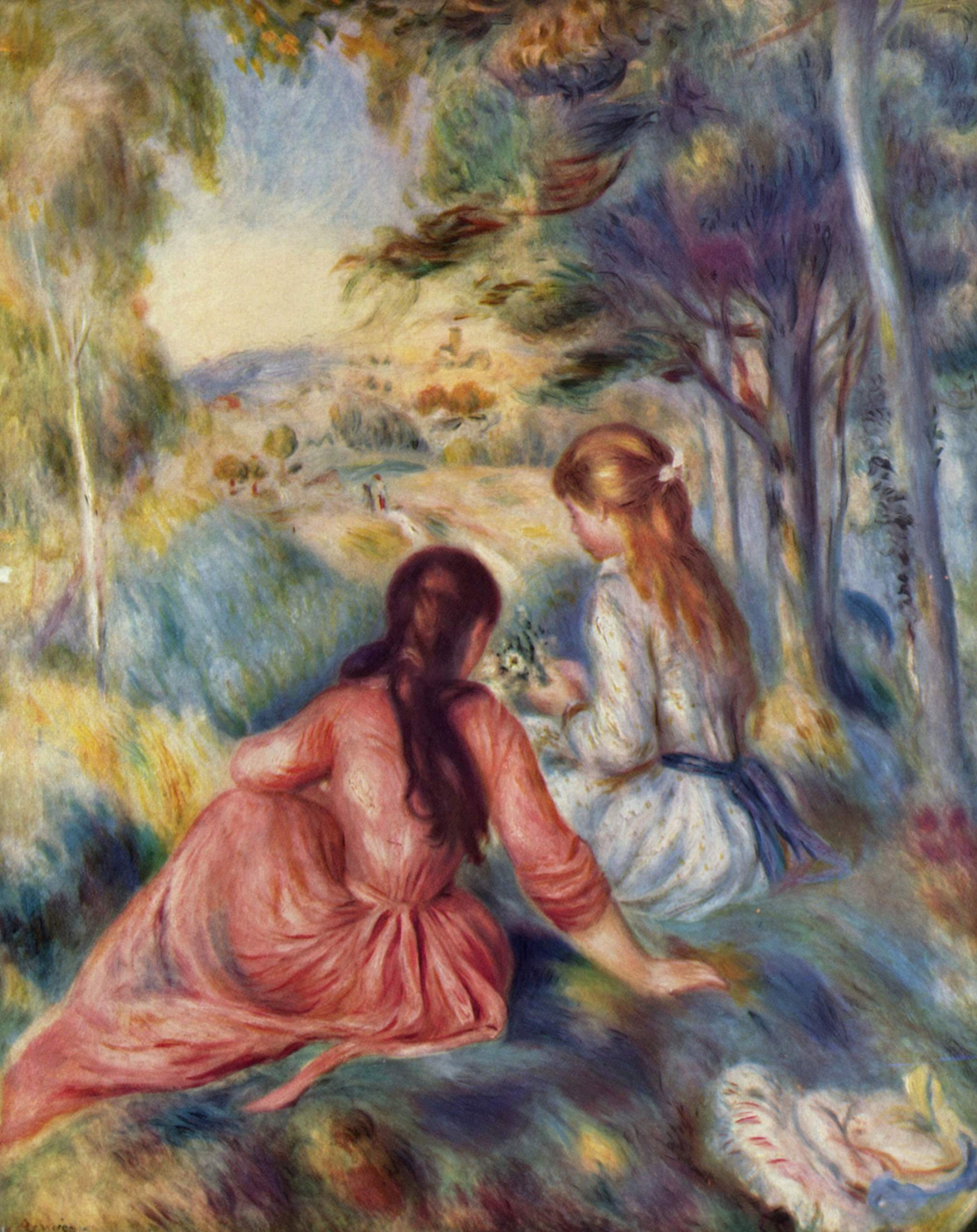 Pierre-Auguste Renoir. Girls in the meadow