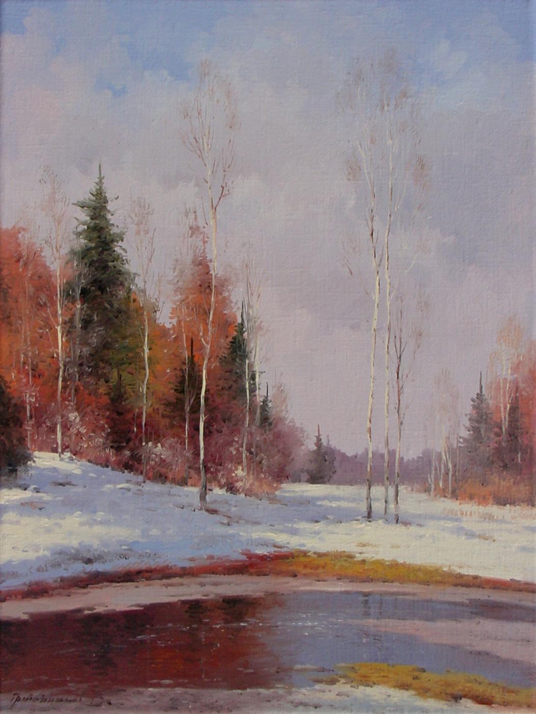 Vasily Ivanovich Gribennikov. February thaw