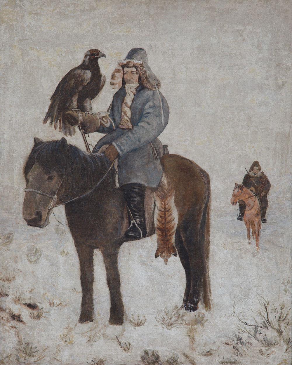 Abylkhan Kasteevich Kasteev. Hunter with a golden eagle