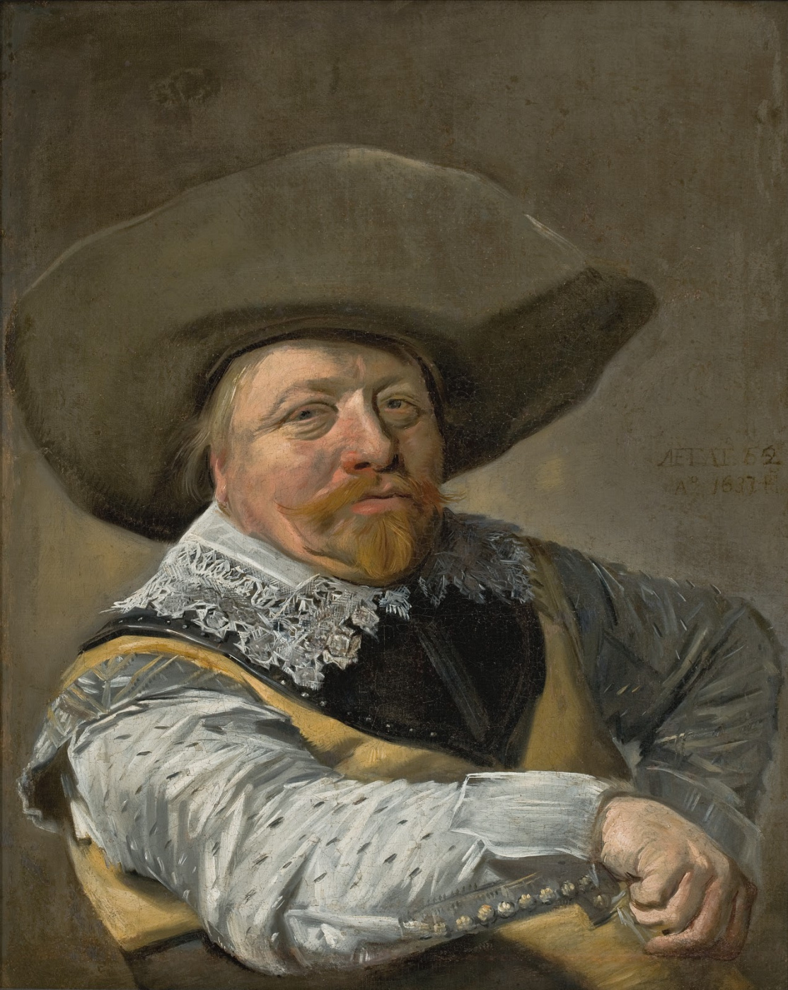 Frans Hals. Portrait of a seated officer, resisting hand side