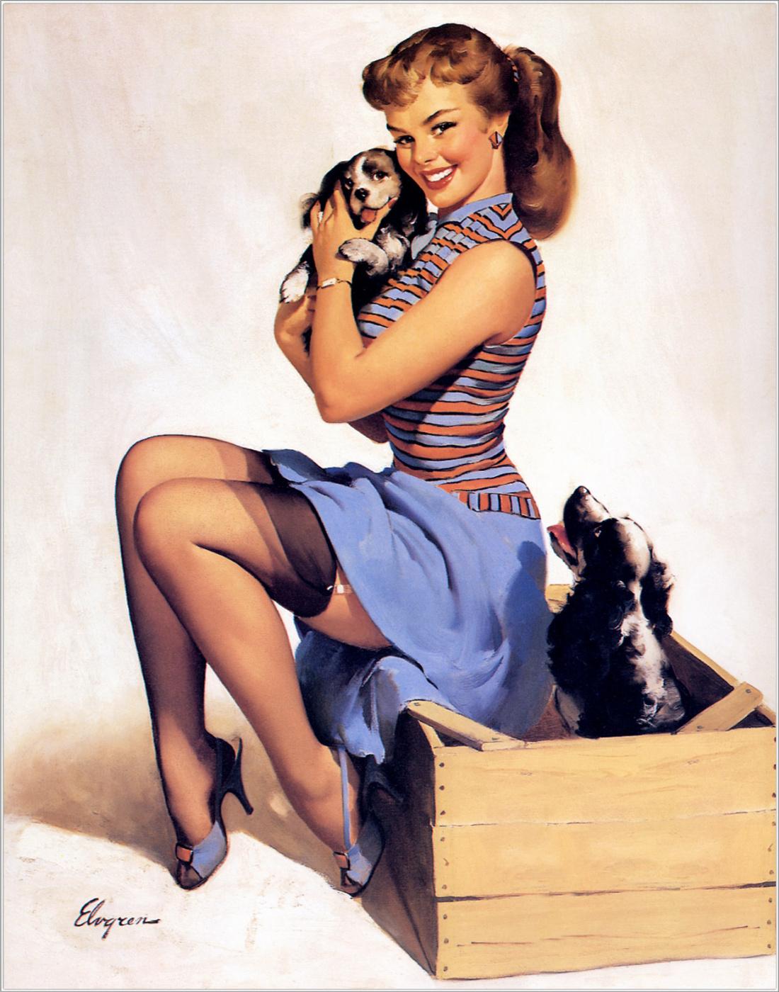 Jill Elvgren. Puppy love