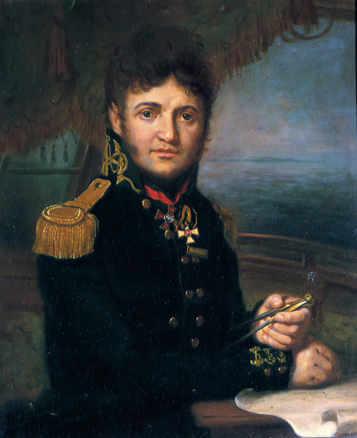 Vladimir Borovikovsky. Portrait of Yuri Lisyansky, officer of the Russian fleet and traveler