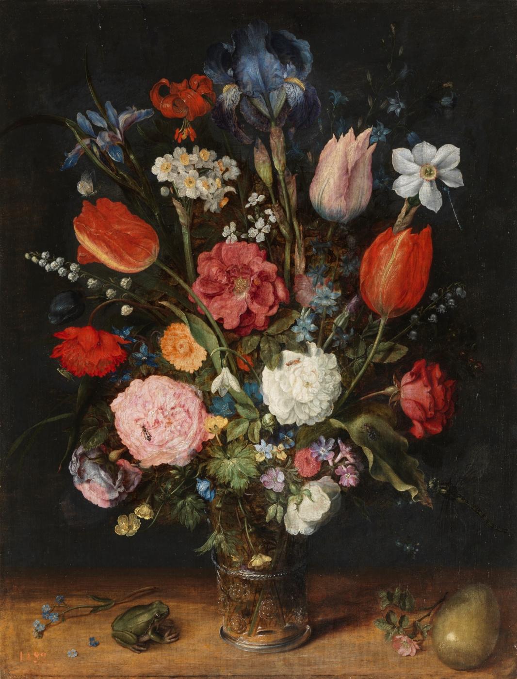 Jan Bruegel The Elder. Bouquet of flowers in a vase, frog and egg