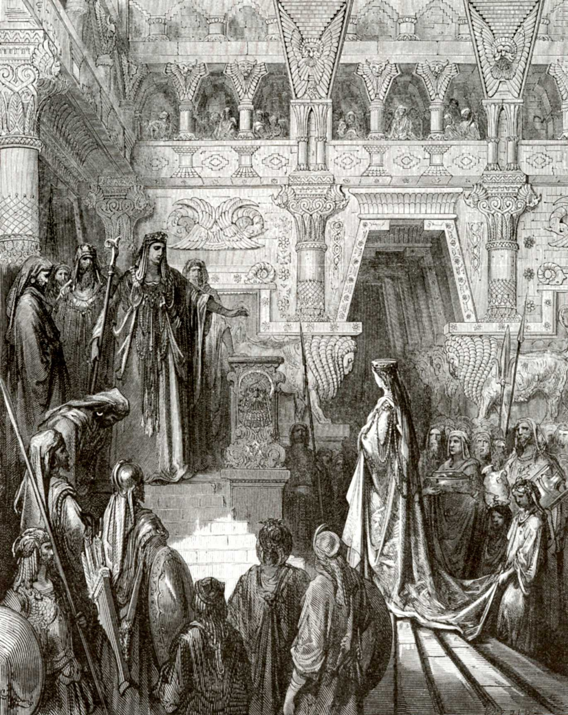 Paul Gustave Dore. Illustration to the Bible: Solomon accepts the Queen of Sheba