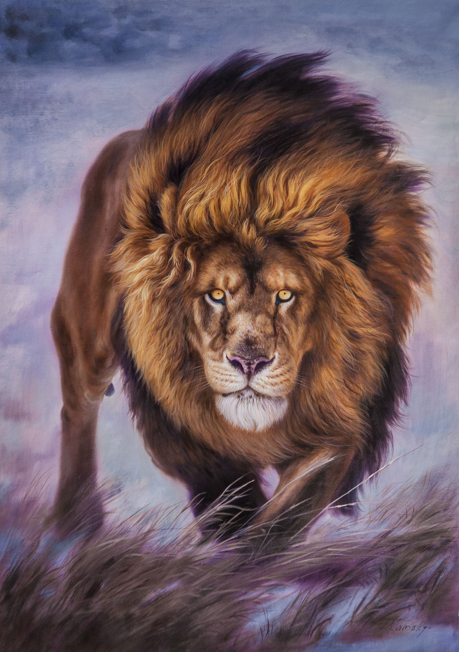 Savely Kamsky. Lion portrait. Reigning and protecting