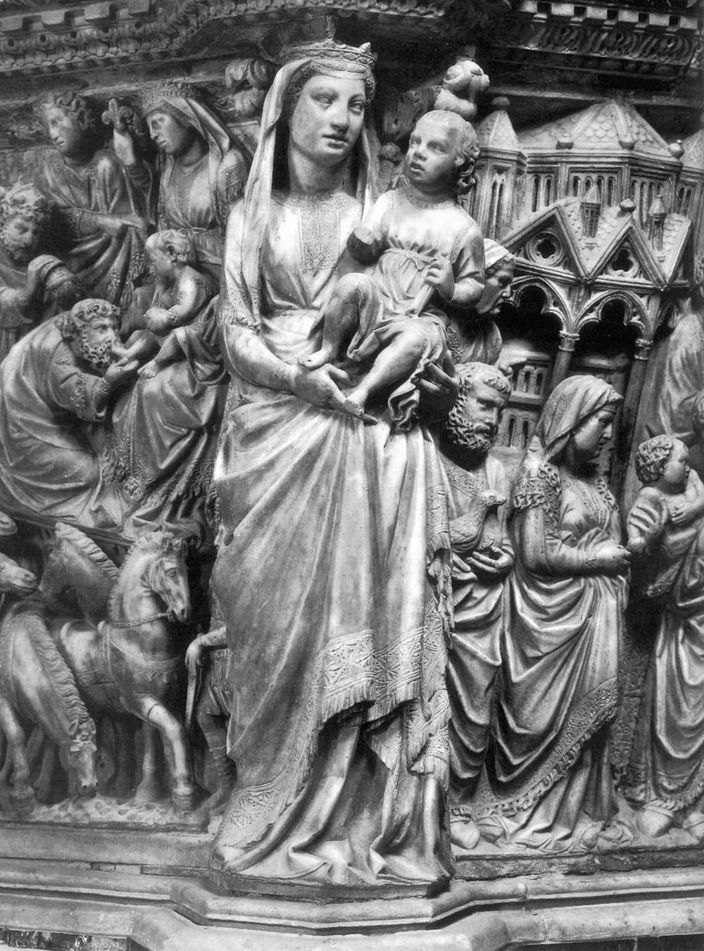 Niccolo Pisano. Madonna and Child. Relief of the cathedral pulpit in Siena.
