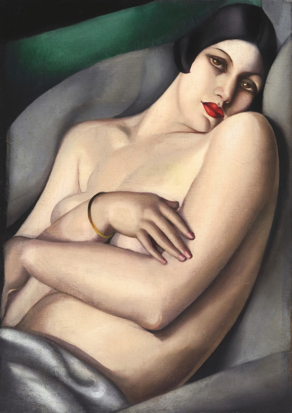 Tamara Lempicka. The dream (Rafael on a green background)