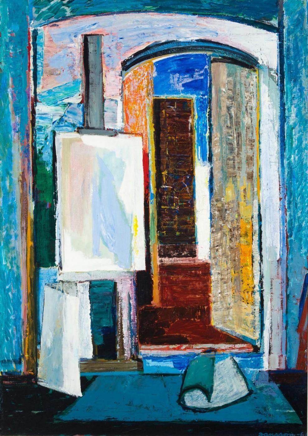 Tove Jansson. In a studio