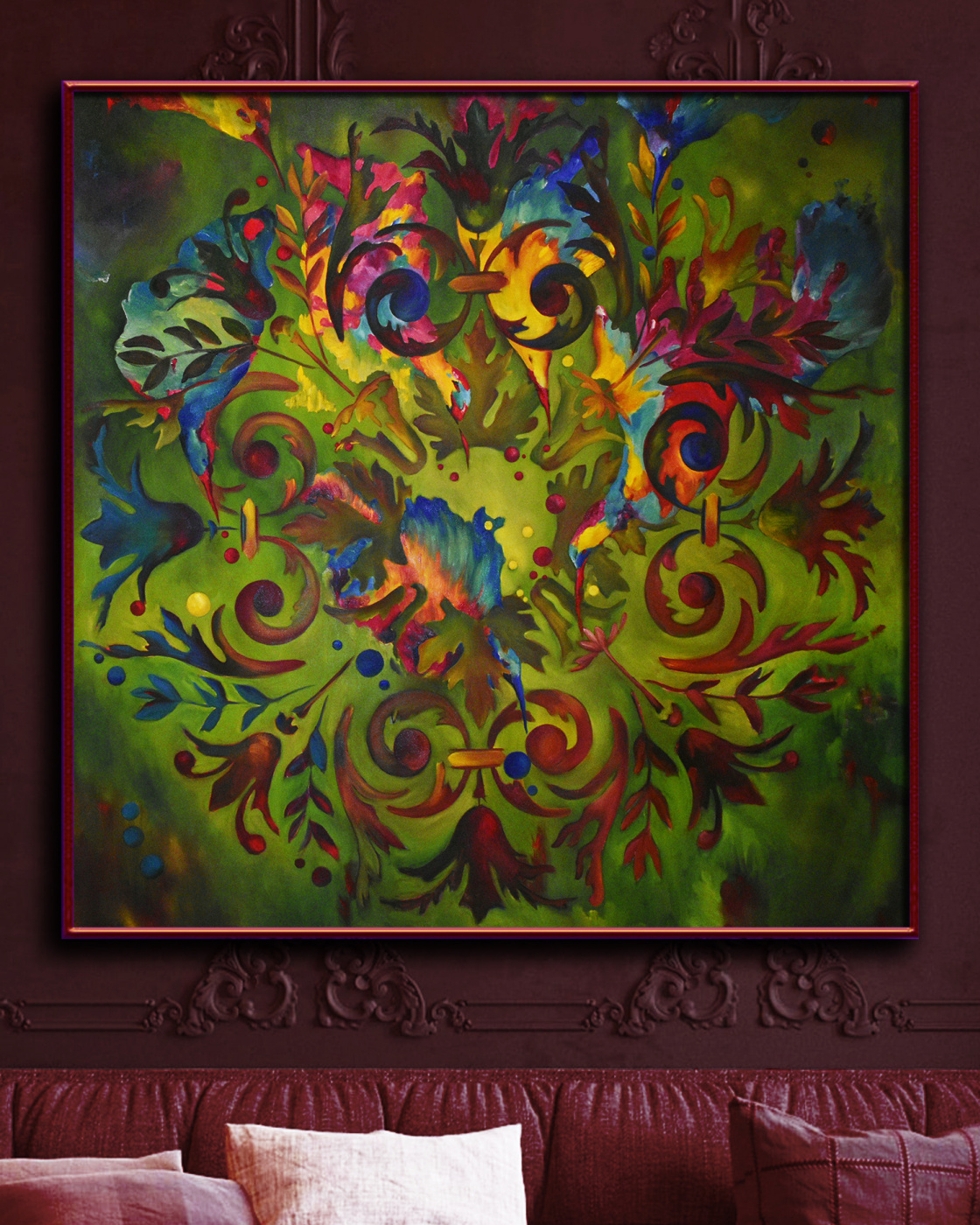 BIRDS and BERRIES 110*110 cm, original oil painting