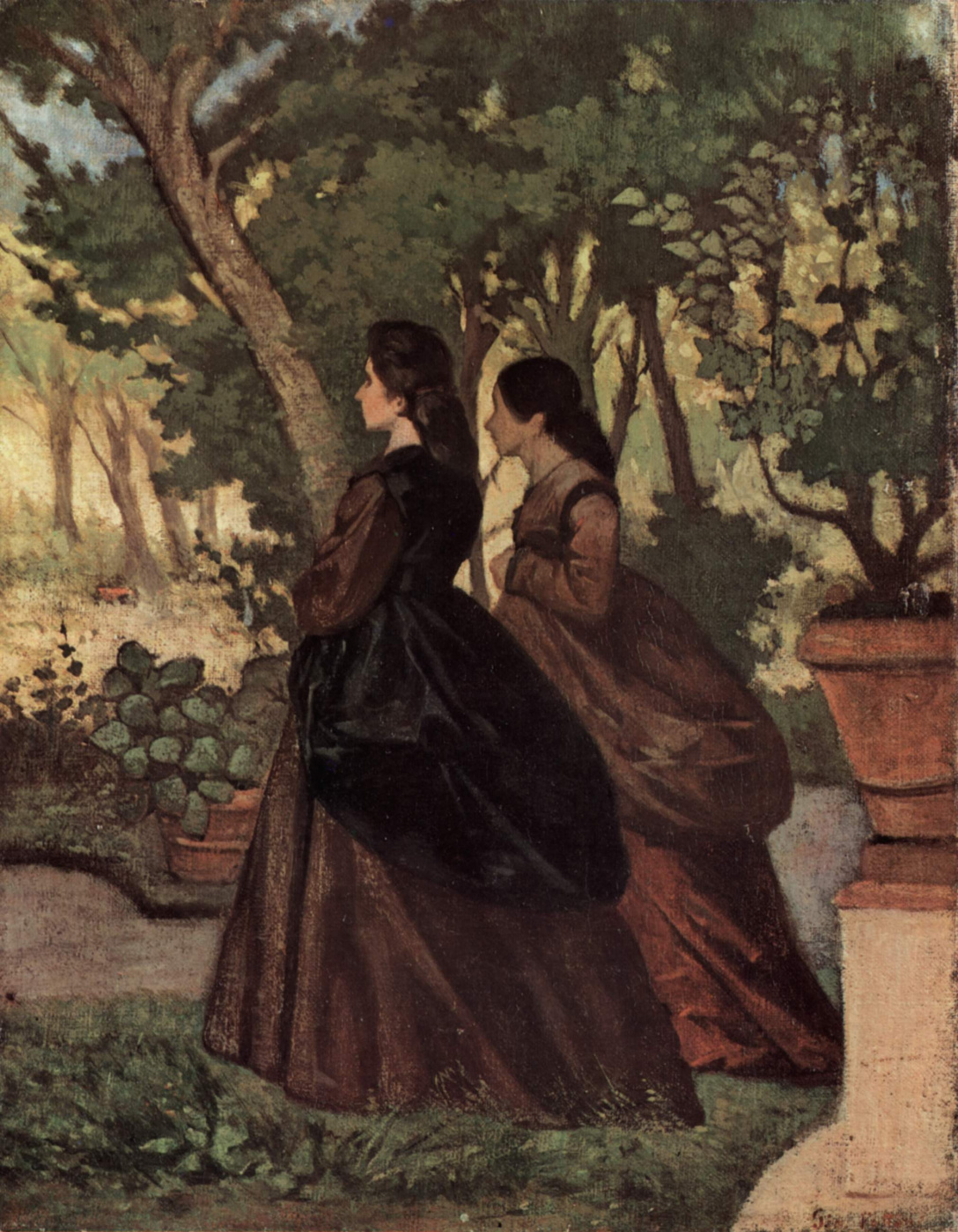 Giovanni Fattori. Two ladies in the garden of Castiglioncello