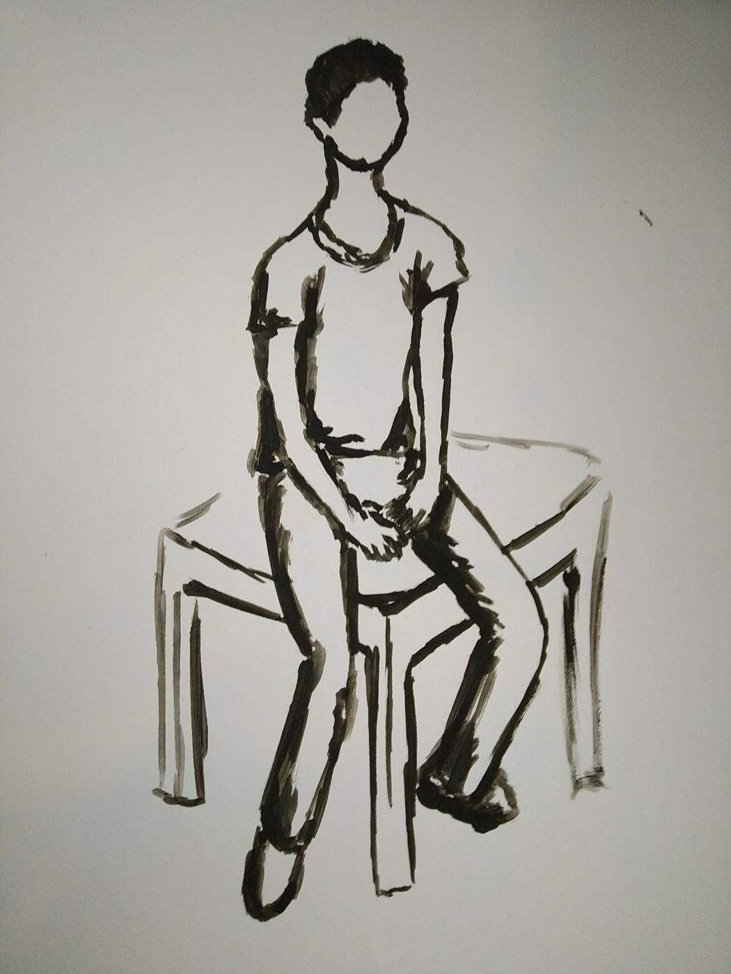 Zina Vladimirovna Parisva. Male portrait. Sketch