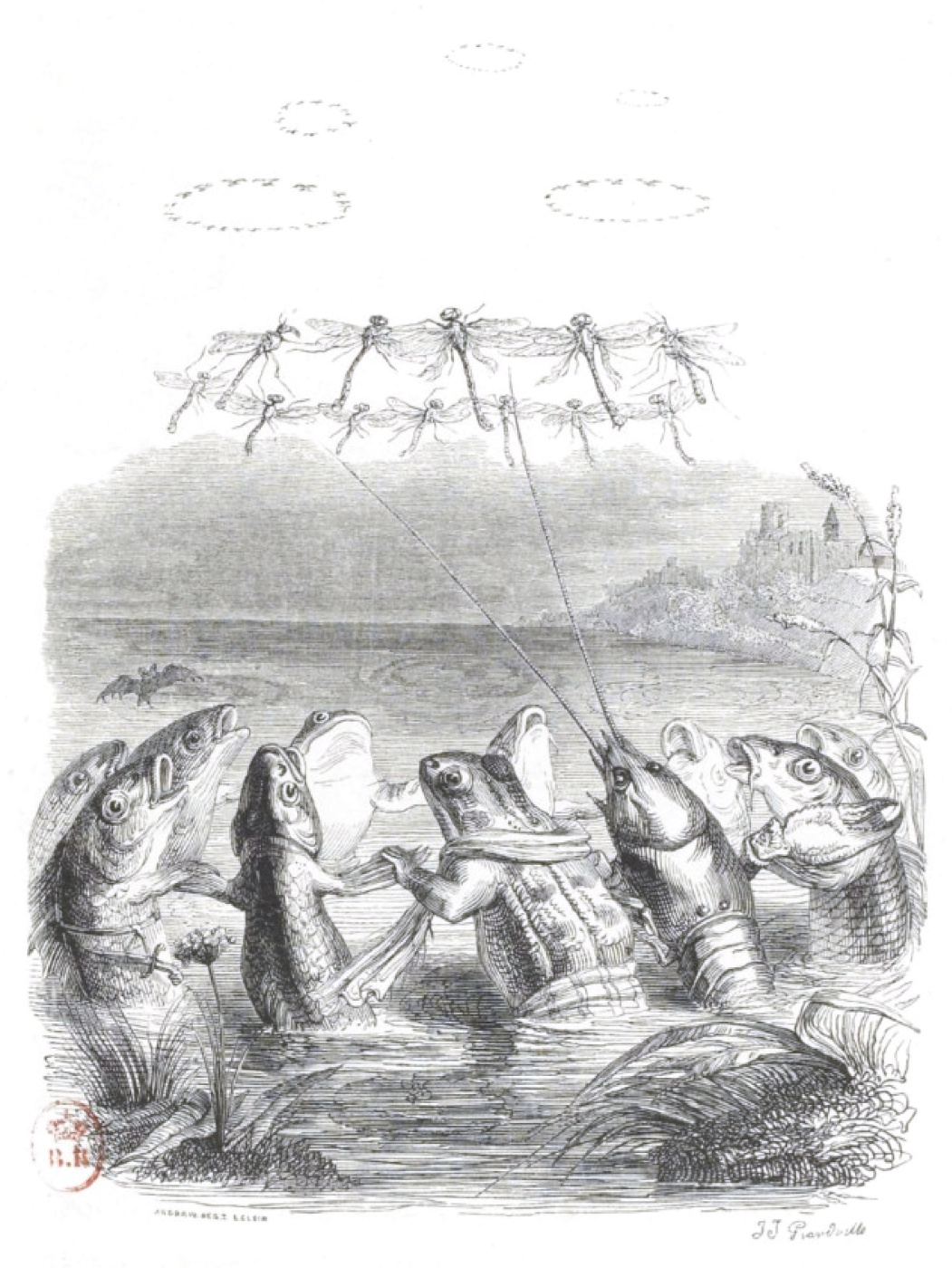 "Jean Inias Isidore (Gerard) Granville. Fantastic sunrise. ""Scenes of public and private life of animals"""