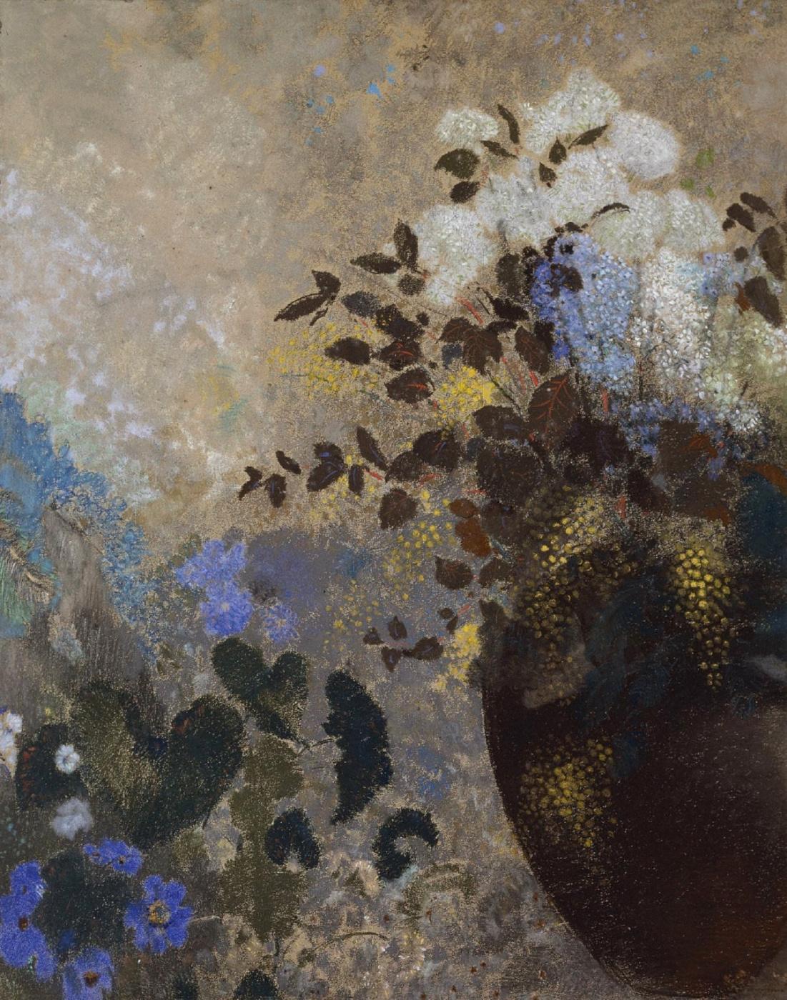 Odilon Redon. Flowers in a black vase