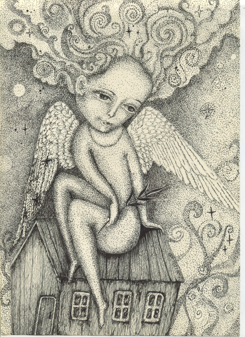 Olyona Ivanovna Koneva. Angel on the roof. Print