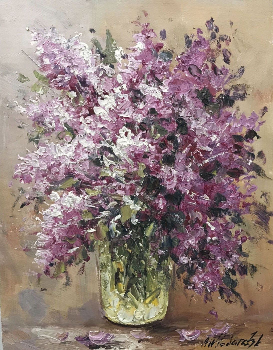 Andrzej Vlodarczyk. A bouquet of lilac in a glass vase N3