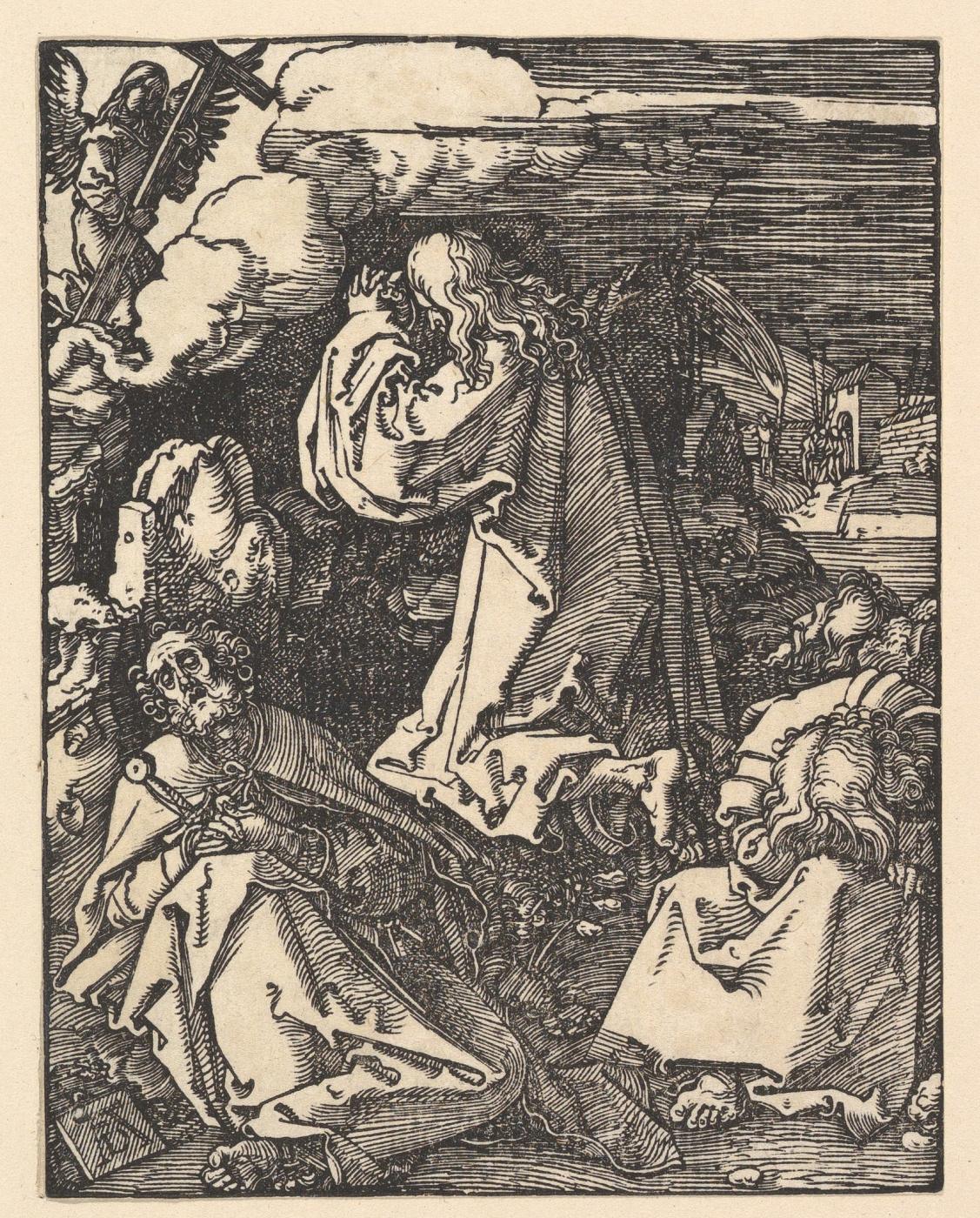 Albrecht Dürer. Christ on the mount of olives. Agony in the garden