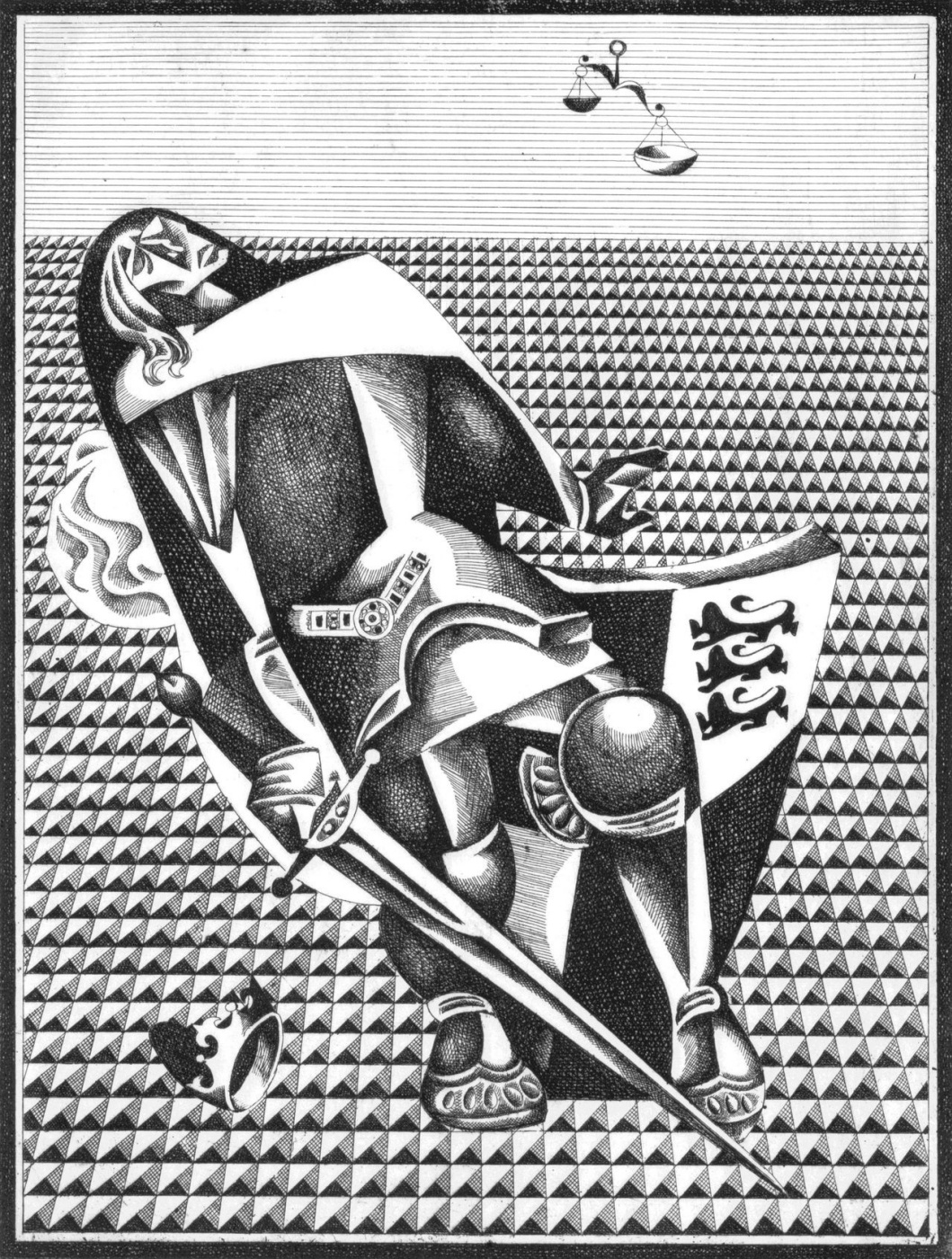 """Vitaliy Mikhailovich Volovich. Death of Richard. From a series of illustrations for the tragedy """"Richard III"""" by W. Shakespeare"""