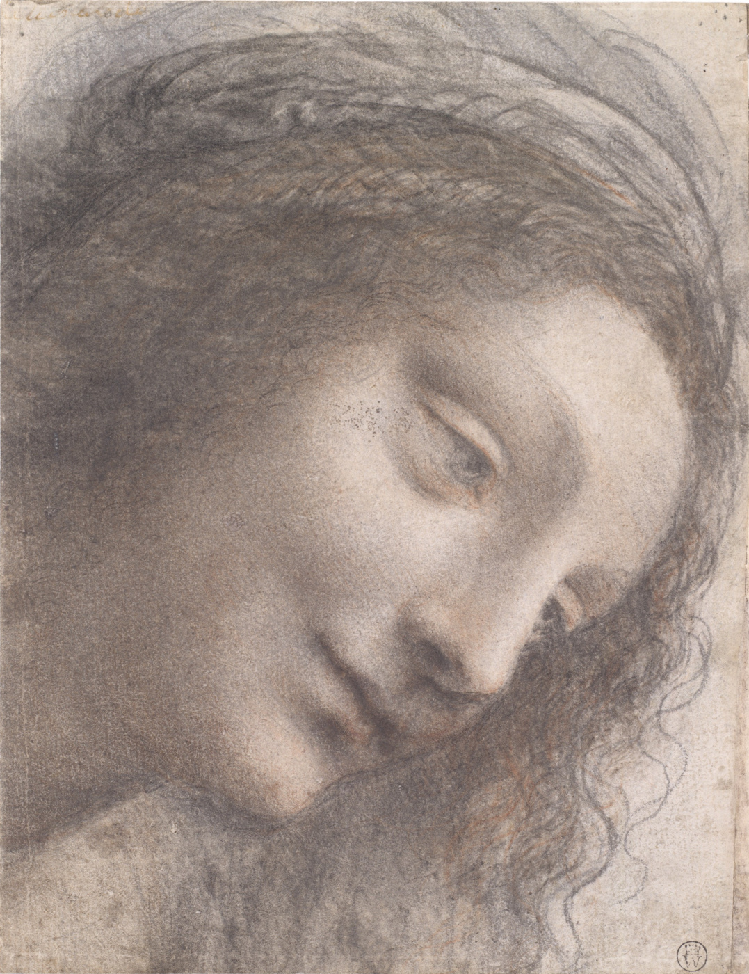 Leonardo da Vinci. The head of the Virgin in three quarters on the right side